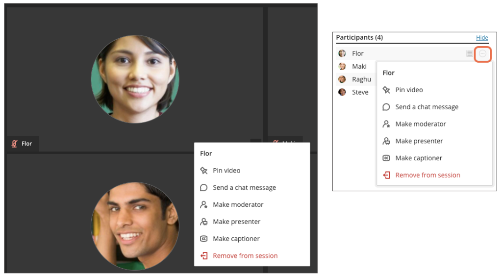 Screenshot of Collaborate Ultra's Attendee Controls