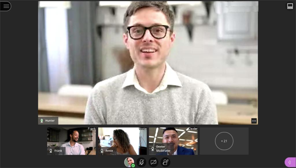 Screenshot of Blackboard Collaborate Ultra Speaker View
