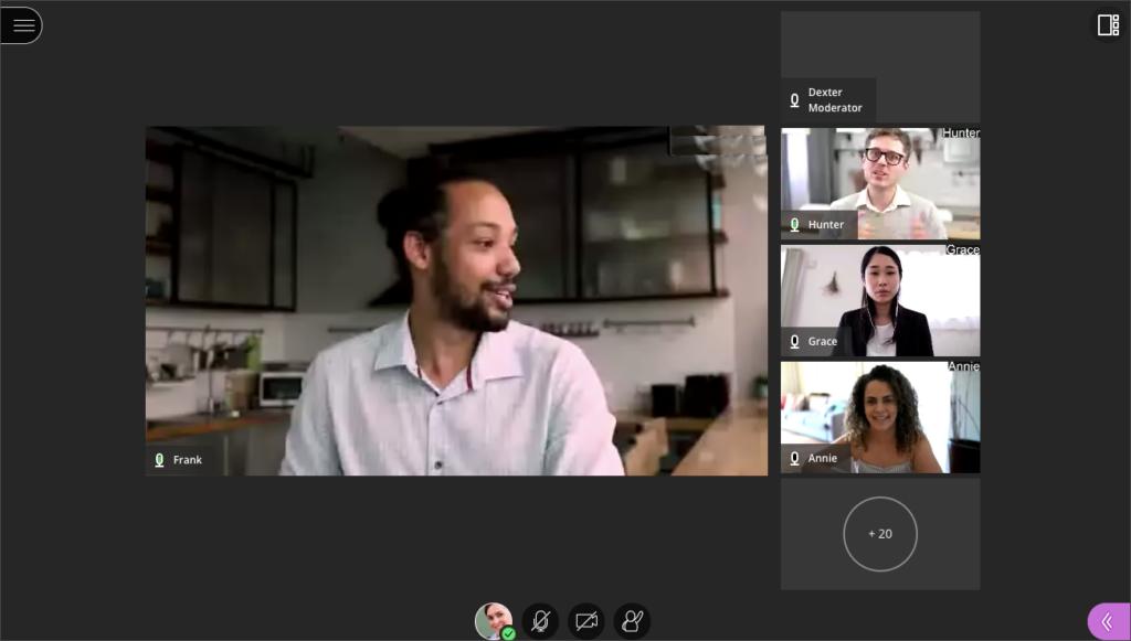 Screenshot of Blackboard Collaborate Ultra Tied View